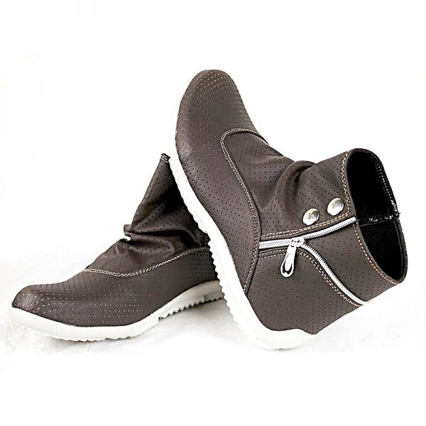 Chocolate Brown Side Zipper Button Shoes For Mens