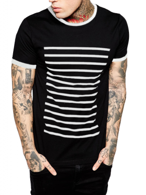 Black Strips Half Sleeve Printed Cotton T-shirt