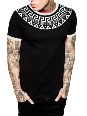Edge Strips with Pattern Half Sleeve Printed Cotton T-shirt