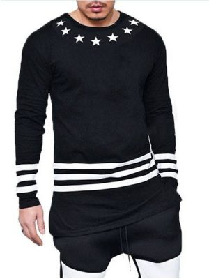 7 Stars printed cotton jersey black t-shirt
