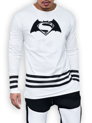 3 Strips Batman Vs Superman printed cotton jersey white t-shirt
