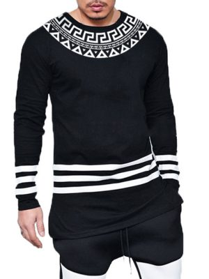 3 Strips pattern printed cotton jersey black t-shirt