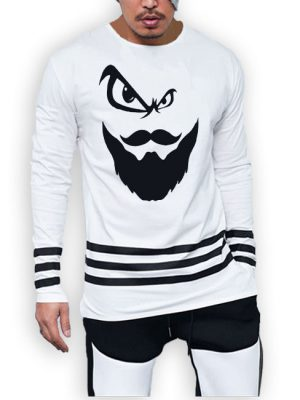 3 Strips beard printed cotton jersey white t-shirt