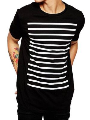 Half sleeve white strips printed cotton jersey t-shirt