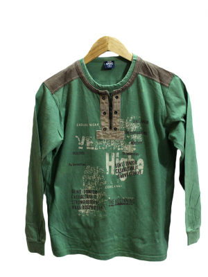 Gent Neck Style Printed Green Cotton T-Shirt For Men