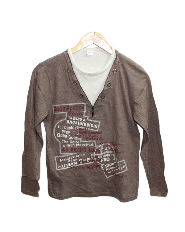 Carmel Printed Brown Cotton T-Shirt
