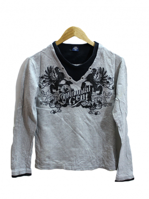 Continental Gent Printed Grey Cotton T-Shirt
