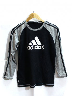 Adidas Plain Style Black Cotton T-Shirt