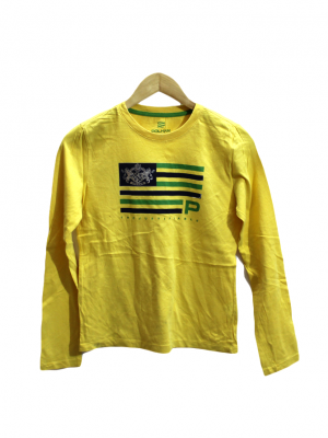 Polham Printed Style Yellow Cotton T-Shirt