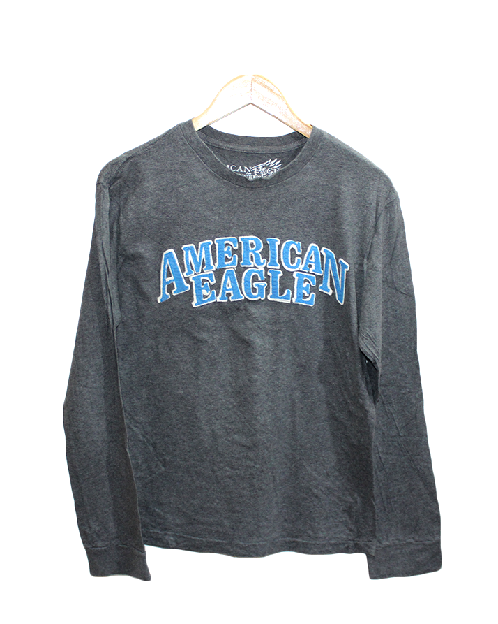Outfitters American Eagle Printed Black Cotton T Shirt