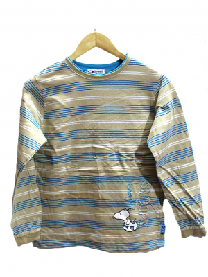 Snoopy Printed Strips Style Colorful Cotton T-Shirt