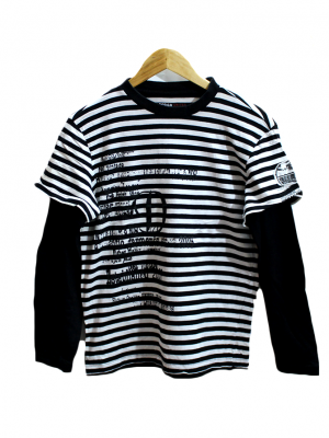 Design United Printed Strips Style White Cotton T-Shirt