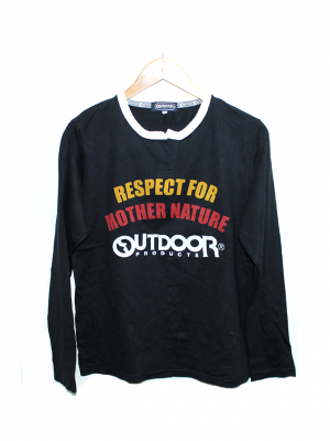 Outdoor Printed Black Cotton T-Shirt