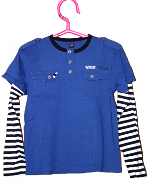UWS 2 Pocket Style Strips Sleeve Blue Cotton T-Shirt