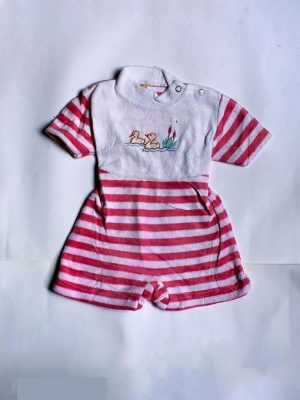 Strips Style Cartoon Printed Cotton Romper For Babies