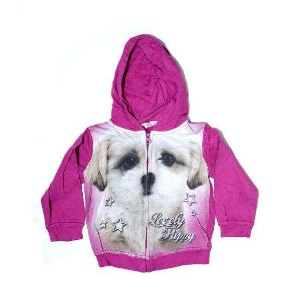 Lovely Puppy Printed Fleece Zipper Hoodie For Girls