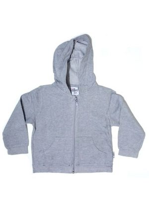 Plain Grey Zipper Fleece Hoodie For Babies
