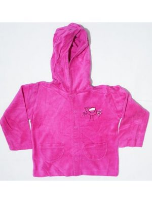 Pocket Style Printed Pink Fleece Hoodie For Babies