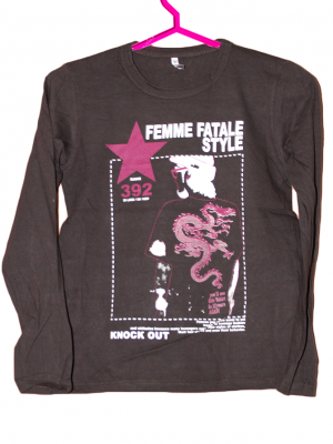 Femme Fatale Style Printed Cotton Black T-shirt