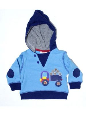 Stitched Style Printed Fleece Hoodie For Babies