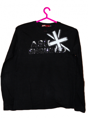 ASK Printed Fancy Black Cotton T-Shirt