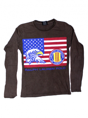 Ralph Lauren Flag Printed Brown T-Shirt For Boys