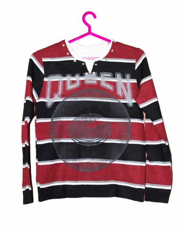 Queen Printed Strips Style Cotton T-Shirt For Men