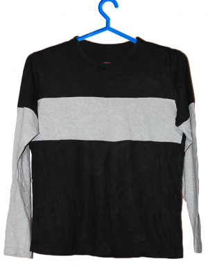 Black & Grey Plain Cotton T-Shirt For Men