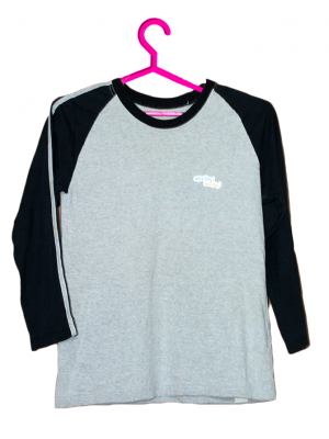 Plain Grey & Black Cotton T-Shirt For Men