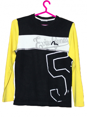 Evisu Printed Black & Yellow Cotton T-Shirt For Men