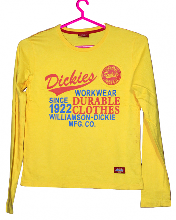 Dickies Printed Yellow Cotton T-Shirt For Men