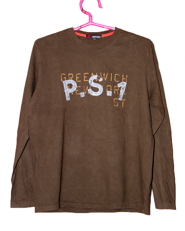 P.S.1 Printed Brown Cotton T-Shirt For Men