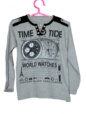 Time Tide Printed V Neck Cotton T-Shirt For Men