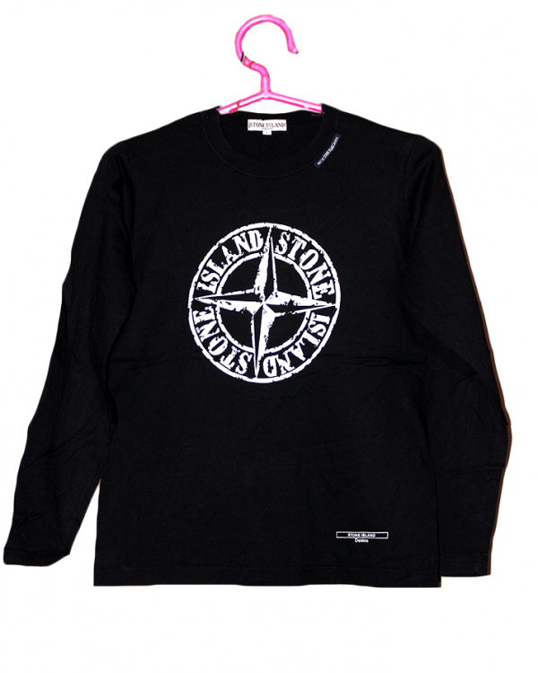 Stone Island Printed Black Cotton T-Shirt For Men