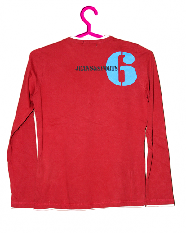 V Neck Printed Style Red Cotton T-Shirt For Men
