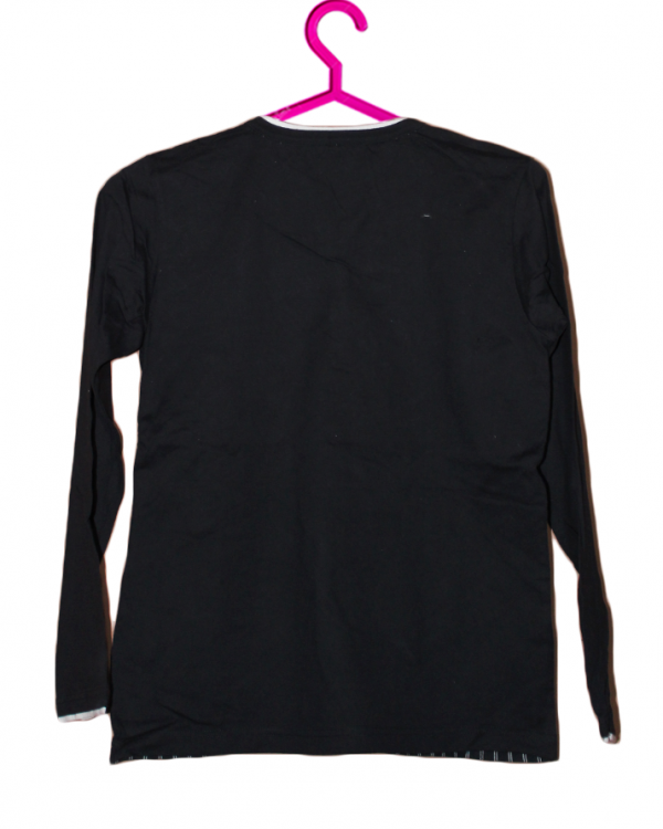 V Neck Plain Style Black Cotton T-Shirt For Men