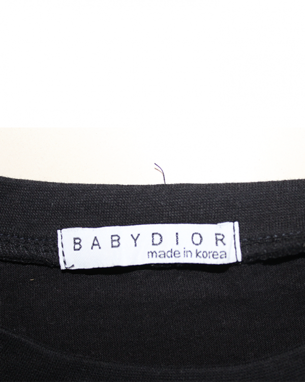 Babydior Printed Cotton Black T-Shirt