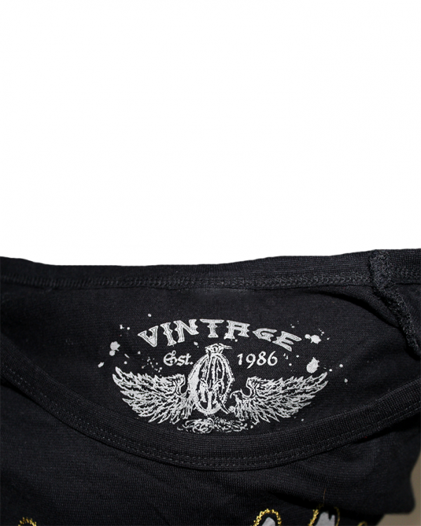 Vintage Printed Style Black Cotton T-Shirt For Men