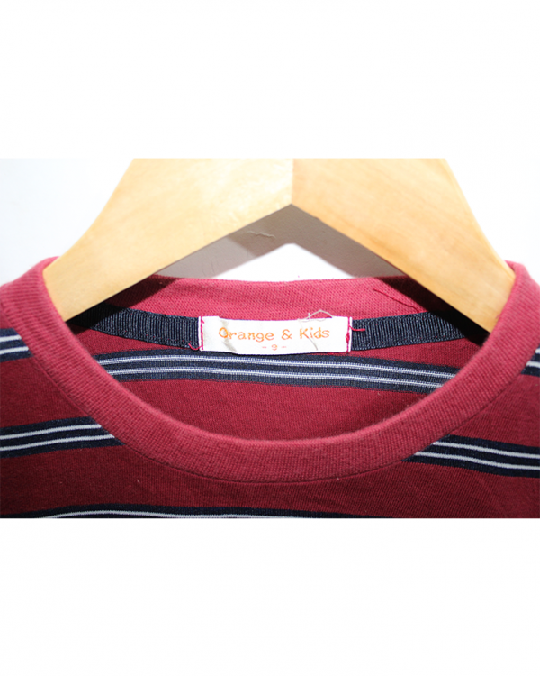 Orange & Kids Strips Style Red Cotton T-shirt