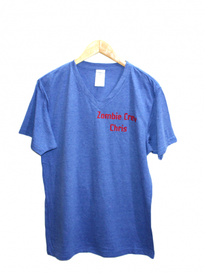 B&C Zombie Crew Cris V Neck Style Blue Cotton T-Shirt