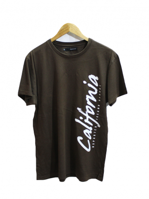 D3parted California Printed Brown Cotton T-Shirt