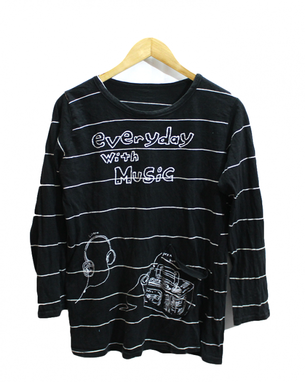 Everyday Music Strips Style Printed Black Cotton T-Shirt