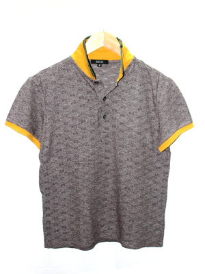 Gucci Polo Style Printed Brown Cotton T-Shirt