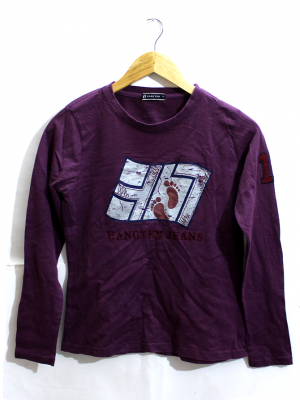 Hang Ten Jeans Printed Maroon Cotton T-Shirt