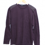 J. Polack Plain Maroon Cotton T-Shirt