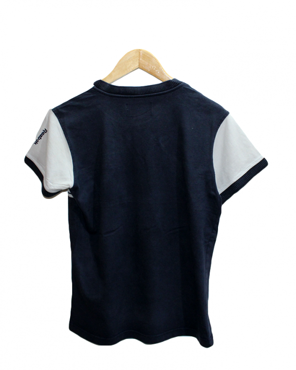 Reebok V Neck Style Plain Blue Cotton T-Shirt