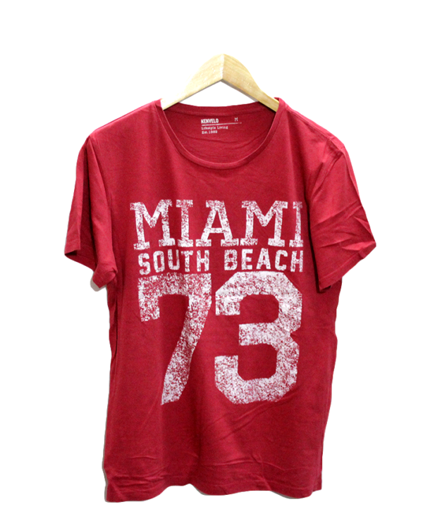 Casual Miami South Beach Print Round Neck Cotton T-Shirt