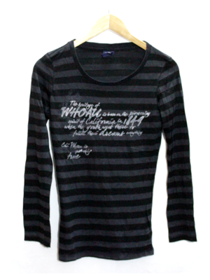Decent Print With Two Strips Round Neck Cotton T-Shirt