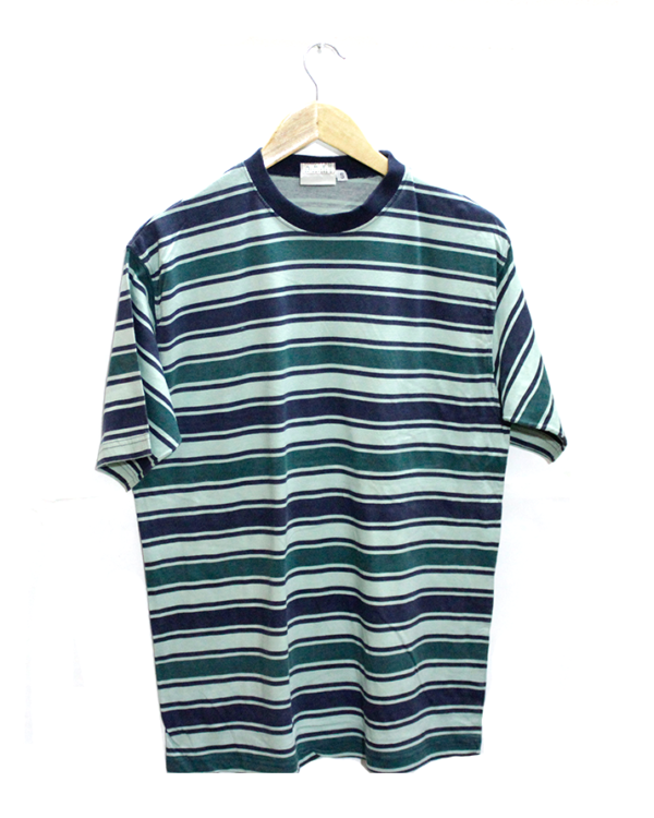 Casual 3 Stirips Fabric Color Round Neck Cotton T-Shirt