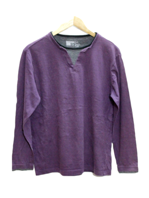 V-Neck Style Plain Cotton Purple T-Shirt